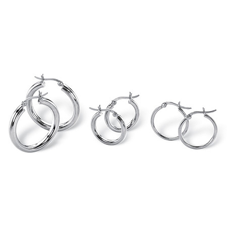 Sterling Silver 3-Pairs Hoop Earrings Set