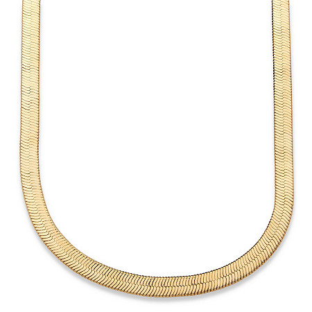 Herringbone Necklace in Yellow Gold Tone 18