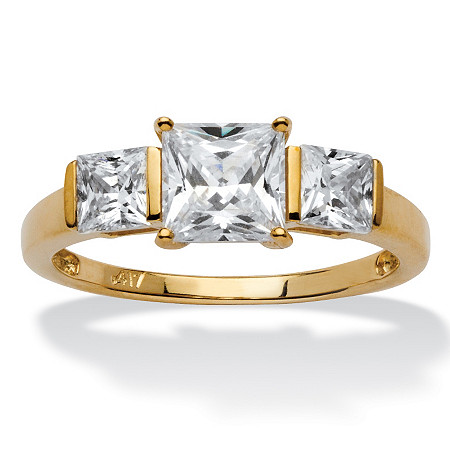 1.94 TCW Princess-Cut Cubic Zirconia 10k Gold 3-Stone Bridal Engagement Anniversary Ring