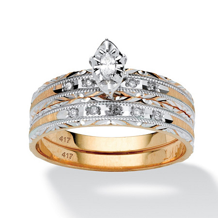 1/7 TCW Marquise-Cut Diamond 10k Gold 2-Piece Bridal Engagement Ring Wedding Band Set