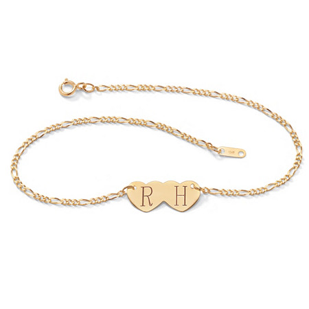 10k Yellow Gold Double-Heart I.D. Figaro-Link Anklet 10