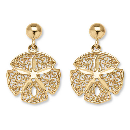 10k Gold Sand Dollar Drop Earrings