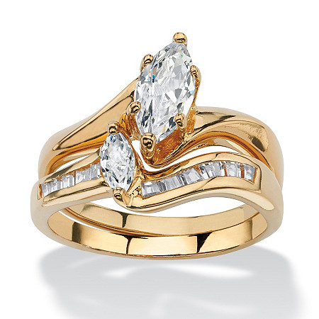 1.38 TCW Marquise-Cut Cubic Zirconia 14k Yellow Gold-Plated Bridal Engagement Wedding Ring Set