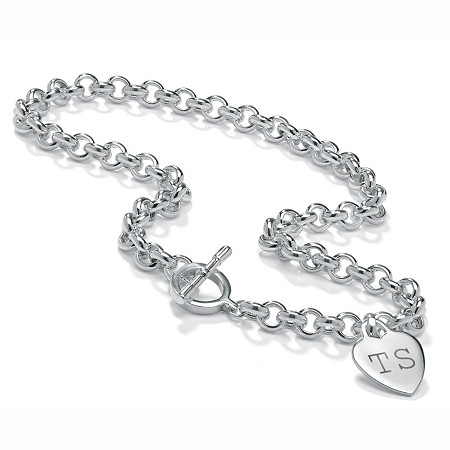 Sterling Silver Rolo-Link Personalized I.D. Necklace 17
