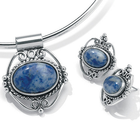 Oval-Shaped Simulated Blue Lapis Silvertone Antique-Finish Pendant and Earrings Set
