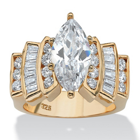 3.63 TCW Marquise-Cut and Round Cubic Zirconia 18k Gold over Sterling Silver Ring