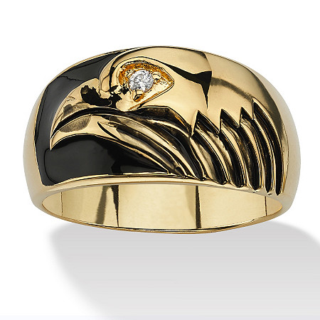 Men's Round Cubic Zirconia Accent 14k Yellow Gold-Plated Black Enamel-Finish American Eagle Ring