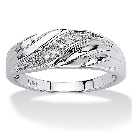 Men's Diamond Accent 10k White Gold Swirled Wedding Band Ring