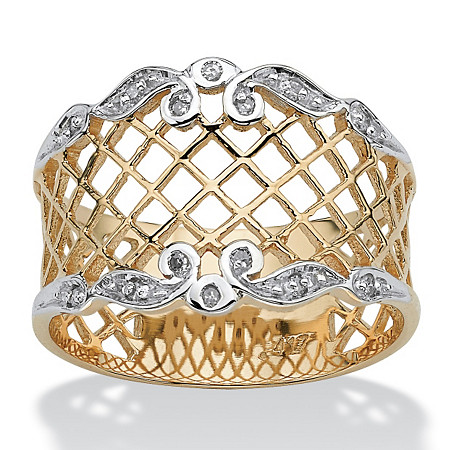 Diamond Accent Lattice Ring in 10k Gold