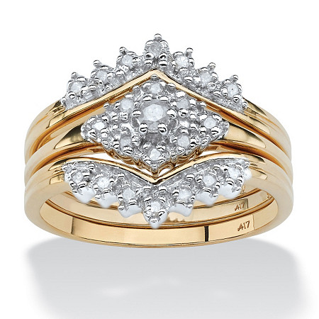 3 Piece 1/4 TCW Round Diamond Bridal Ring Set in 10k Gold