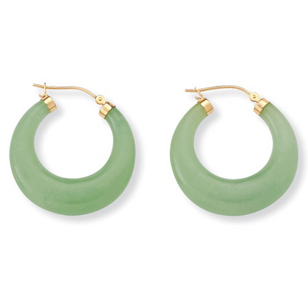 Jade 14k Yellow Gold Hoop Earrings