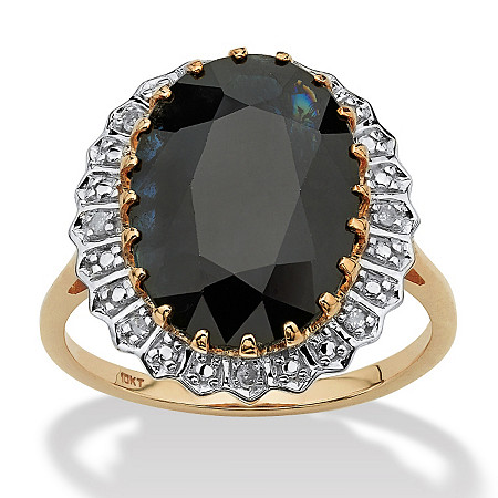 7.25-Carat Oval Cut Midnight Blue Genuine Sapphire 10k Yellow Gold Ring