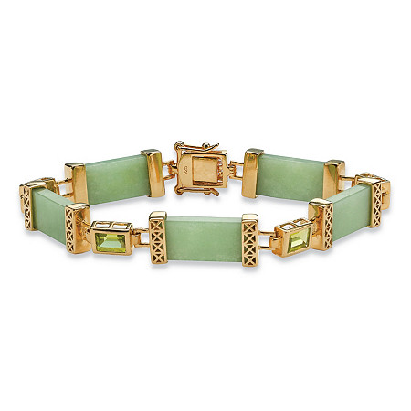 1.75 TCW Peridot and Green Jade Bracelet in Golden Finish over Sterling Silver