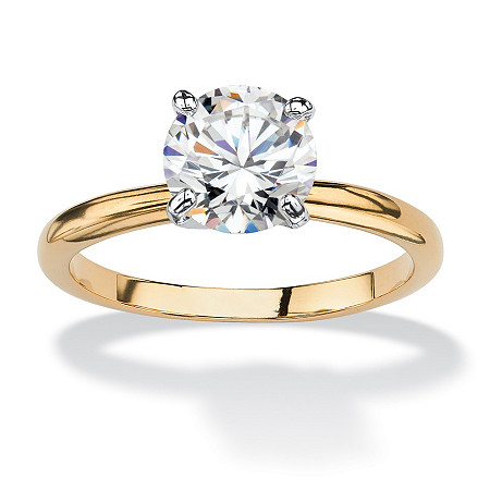1.88 Carat Round Cubic Zirconia 14k Gold-Plated Bridal Engagement Solitaire Ring