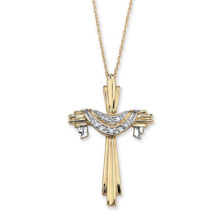 Diamond Accent 10k Yellow Gold Cross and Robe Pendant and Chain 18