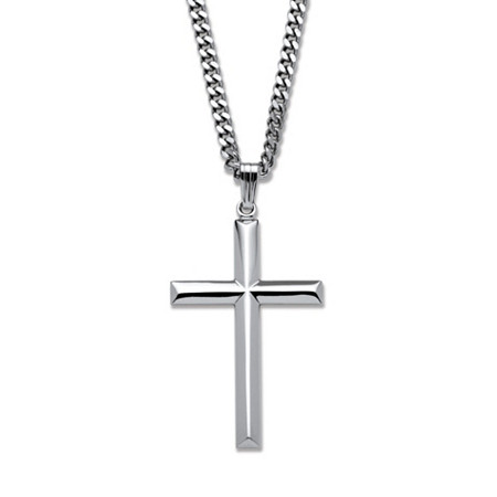 Cross Pendant in Sterling Silver with Stainless Steel Chain 24