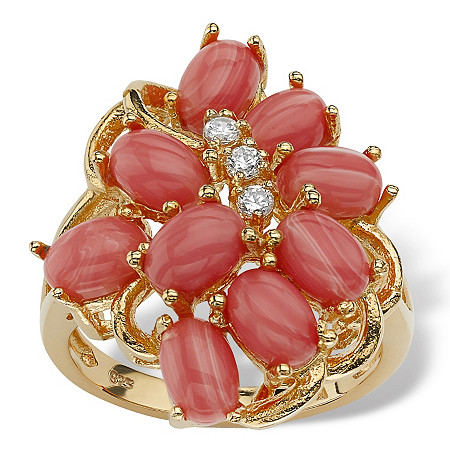 Oval-Shaped Genuine Coral 18k Yellow Gold Over Sterling Silver Cluster Cocktail Ring