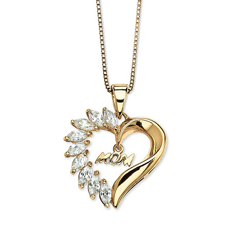 1.35 TCW Marquise-Cut Cubic Zirconia 18k Yellow Gold over Sterling Silver Mom Pendant and Chain