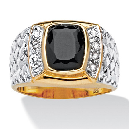 Men's Cushion-Cut Onyx and CZ Ring in 18k Gold over Sterling Silver