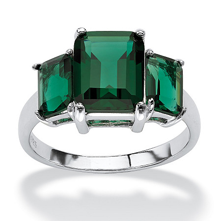 Emerald-Cut Green Crystal Mount St. Helens Inspired Ring in Sterling Silver