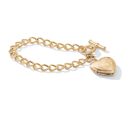 Heart Locket Bracelet in Yellow Gold Tone 8