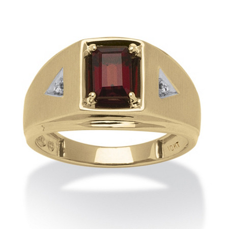 Men's 1.20 TCW Emerald-Cut Genuine Garnet Diamond Accent 10k Yellow Gold Classic Ring
