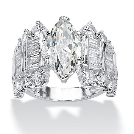 6.55 TCW Marquise-Cut Cubic Zirconia Ring in Sterling Silver