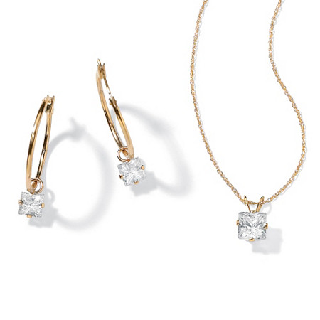 2.60 TCW Princess-Cut Cubic Zirconia 10k Yellow Gold 2-Piece Necklace and Drop Earrings Set