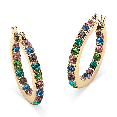 Multi-Color Crystal Inside Out Hoop Earrings in Yellow Gold Tone