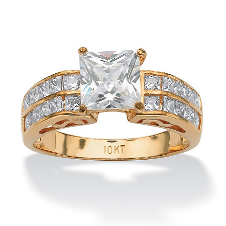 2.42 TCW Princess-Cut and Round Cubic Zirconia Engagement Ring in 10k Gold