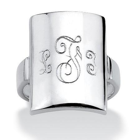 Sterling Silver Curved Personalized Initial Ring
