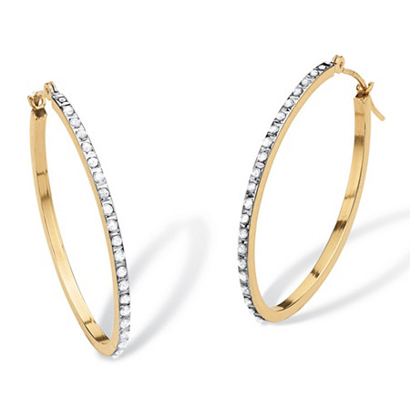Diamond Accent 14k Yellow Gold Diamond Fascination Hoop Earrings 1 Diameter