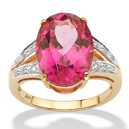 8.83 TCW Oval Cut Sunset-Rose Genuine Topaz Diamond Accent 10k Yellow Gold Ring