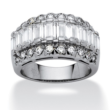 3.78 TCW Baguette Cut Cubic Zirconia Platinum Over Sterling Silver Ring