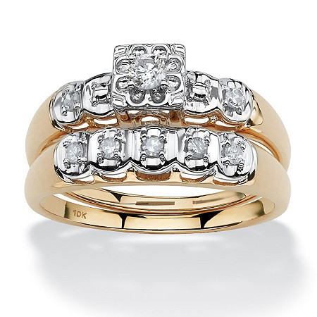 1/4 TCW Round Diamond 10k Yellow Gold Bridal Engagement Wedding Ring Set