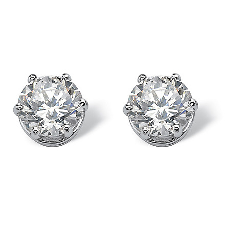 4.00 TCW Round Cubic Zirconia Platinum over Sterling Silver Stud Earrings