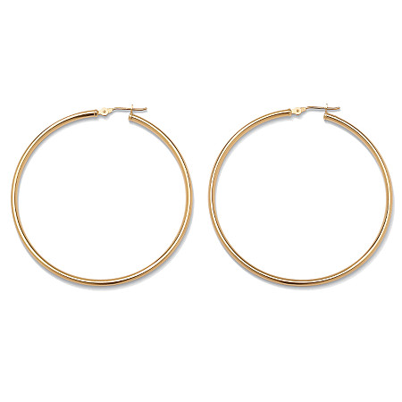 10k Yellow Gold Tubular Hoop Earrings 50 mm Diameter
