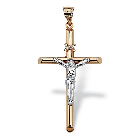 10k Two-Tone Gold Religious Crucifix Cross Pendant