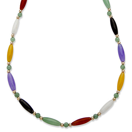 Multi-Color Jade 14k Yellow Gold Beaded and Barrel Shapes Link Necklace 18