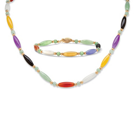 Multi-Color Jade 14k Yellow Gold Beaded and Barrel Shapes Link Bracelet and Necklace Set