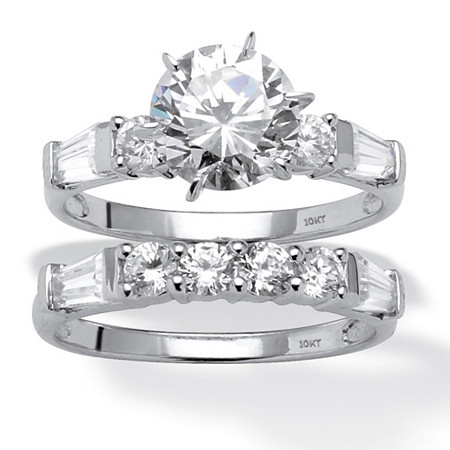 3.60 TCW Round Cubic Zirconia 10k White Gold Wedding Ring