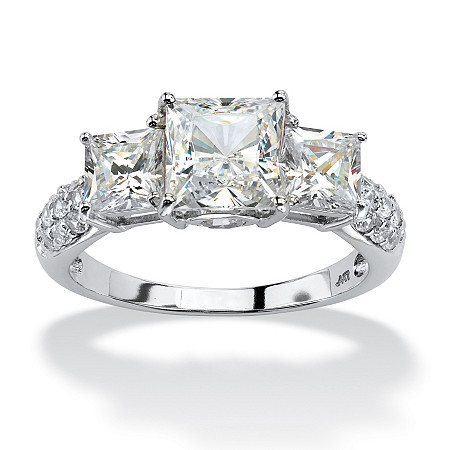 3.06 TCW Princess-Cut Cubic Zirconia 10k White Gold 3-Stone Bridal Engagement Anniversary Ring