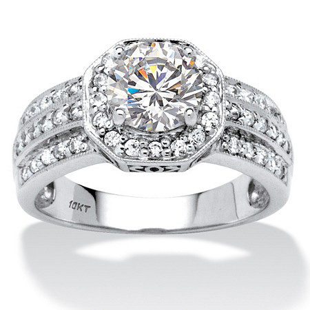 2.26 TCW Round Cubic Zirconia 10k White Gold Octagon Ring