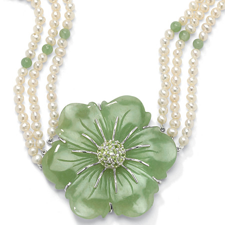 1.20 TCW Flower-Shaped Jade and Cultured Freshwater Pearl Sterling Silver Necklace 16