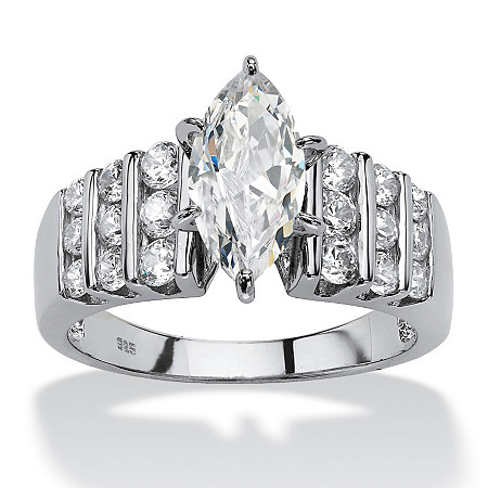 2.84 TCW Marquise-Cut Cubic Zirconia Engagement Anniversary Ring in Platinum over Sterling Silver