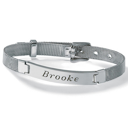 Stainless Steel Mesh Personalized I.D. Name Bracelet 7 1/2