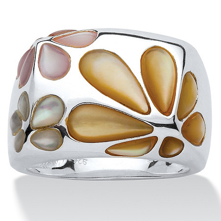 Multi-Color Mother-Of-Pearl Sterling Silver Daisy Ring Sizes 7-12