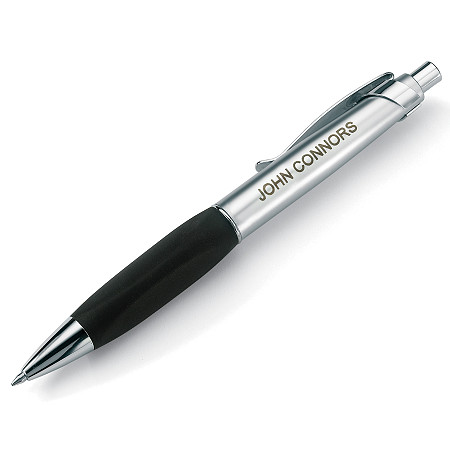 Black Rubber Grip and Silvertone Personalized Pen