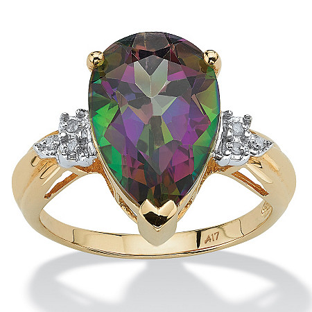8.53 TCW Pear Cut Genuine Fire Topaz and Diamond Accented Ring in 10k Gold