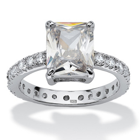 4.66 TCW Emerald-Cut Cubic Zirconia Platinum over Sterling Silver Eternity Ring